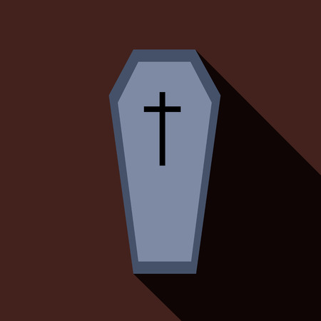 cadaver: Coffin icon in flat style isolated with long shadow vector illustration