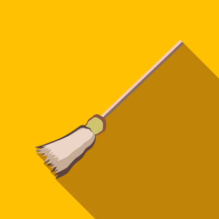 besom: Witch broom icon in flat style isolated with long shadow vector illustration