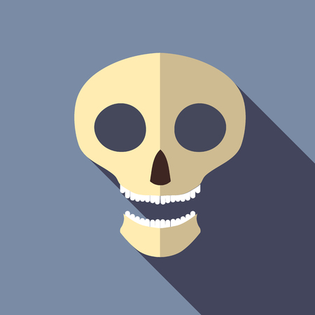 scull: Scull icon in flat style isolated with long shadow vector illustration Illustration