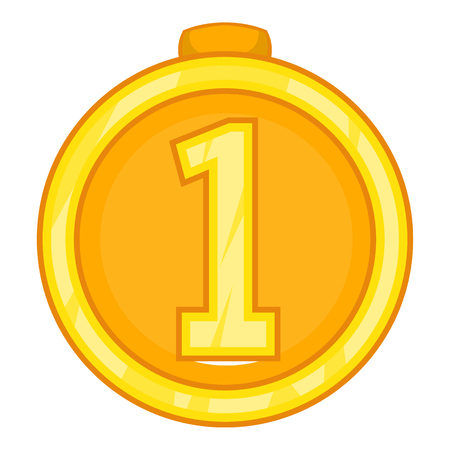 approval rate: Medal for first place icon in cartoon style isolated on white background. Win symbol vector illustration Illustration