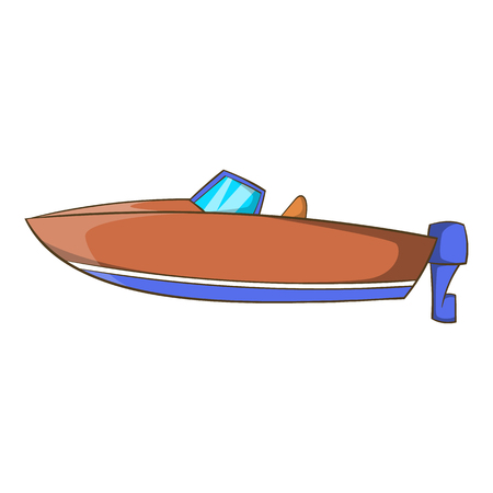 motor boat: Motor boat icon in cartoon style isolated on white background. Maritime transport symbol vector illustration
