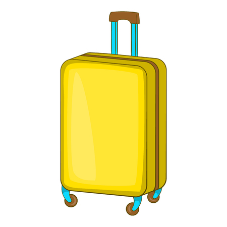 Suitcase on wheels icon in cartoon style isolated on white background. Tourism and journey symbol vector illustration Illustration