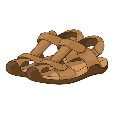 sandals isolated: Sandals icon in cartoon style isolated on white background. Wear symbol vector illustration