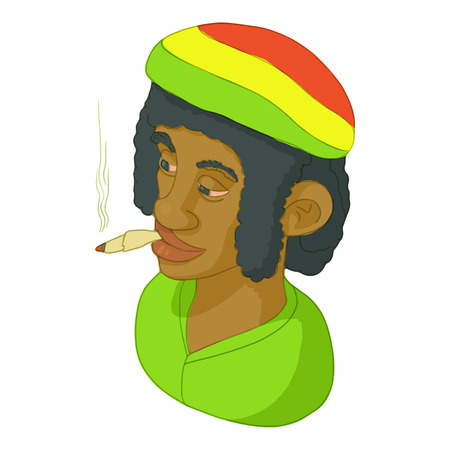 Rastaman icon in cartoon style isolated on white background. People symbol vector illustration