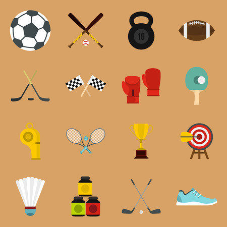 sandy brown: Sport equipment icons set in flat style on a sandy brown background. Sport elements elements set collection vector illustration