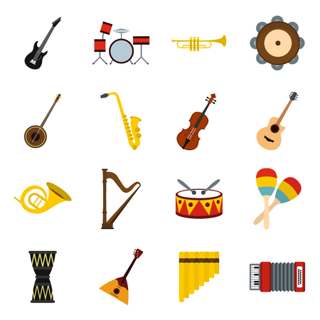 Musical instruments icons set in flat style. Orchestra instruments set collection vector illustration Illustration