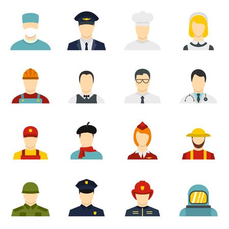 Icone di professioni impostate in stile piano. Le attività della gente hanno messo l'illustrazione di vettore della raccolta Vettoriali