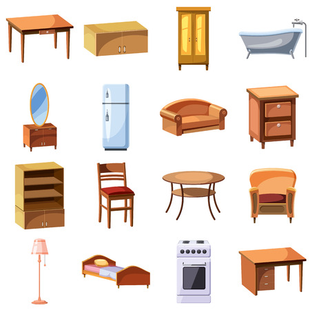 furnishing: Furniture and household appliances icons set in cartoon style. Furnishing apartment elements set collection vector illustration Illustration