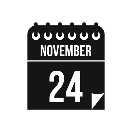november calendar: 24 november calendar icon in simple style on a white background vector illustration