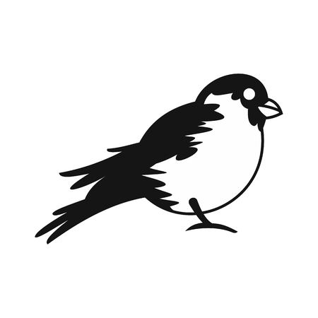 winter garden: Bullfinch icon in simple style on a white background vector illustration