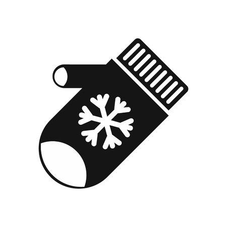 mitten: Mitten with snowflake icon in simple style on a white background vector illustration