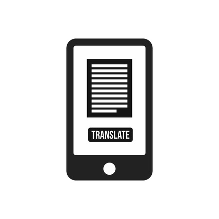 translate: Translate application on a smartphone icon in simple style on a white background vector illustration Illustration