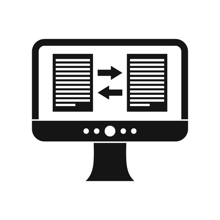 translator: Translator app on the screen of computer icon in simple style on a white background vector illustration