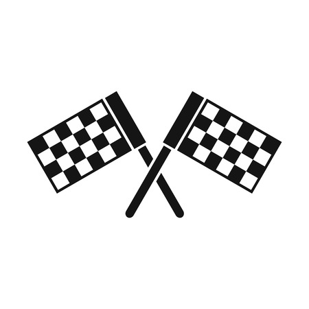 dragster: Crossed chequered flags icon in simple style on a white background vector illustration