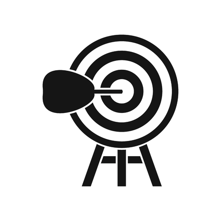 dart board: Target icon in simple style on a white background vector illustration