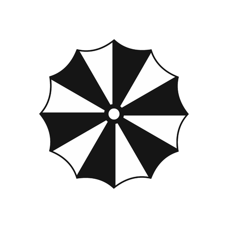 Striped umbrella icon in simple style on a white background vector illustration Иллюстрация