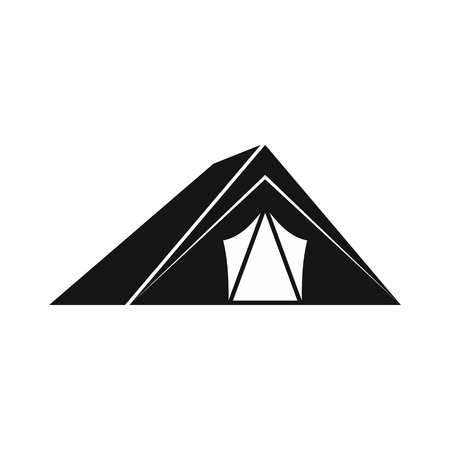 refuge: Tent icon in simple style on a white background vector illustration
