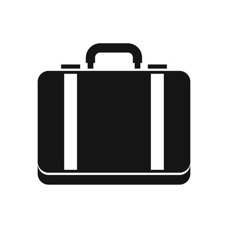 lugage: Suitcase icon in simple style on a white background vector illustration