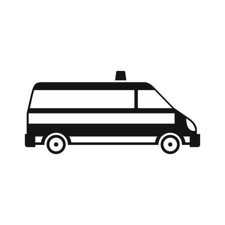 disaster relief: Ambulance car icon in simple style on a white background vector illustration