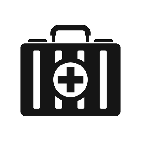 medical preparation: First aid kit icon in simple style on a white background vector illustration