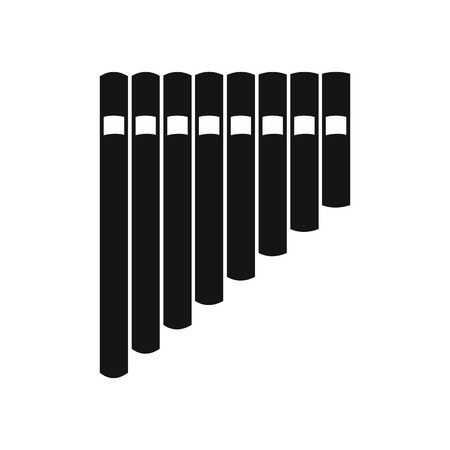 panpipe: Pan flute icon in simple style on a white background vector illustration