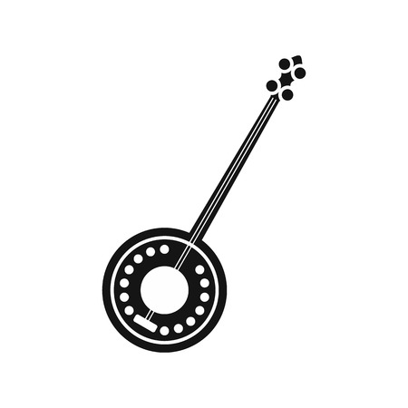 resonator: Banjo icon in simple style on a white background vector illustration