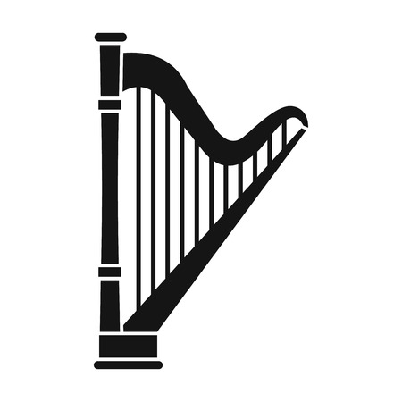 melodic: Harp icon in simple style on a white background vector illustration