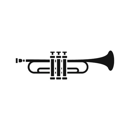 fanfare: Brass trumpet icon in simple style on a white background vector illustration Illustration