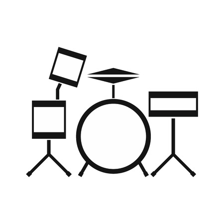 Drum kit icon in simple style on a white background vector illustration