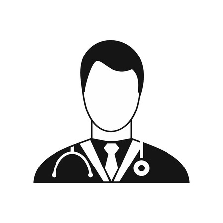 Doctor icon in simple style on a white background vector illustration Illustration