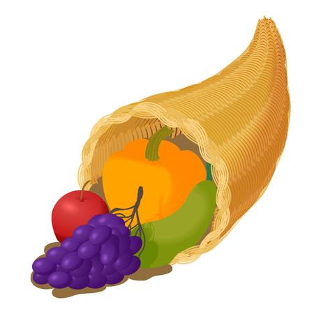 Cornucopia with fruit icon in cartoon style isolated on white background. Prosperity symbol vector illustration
