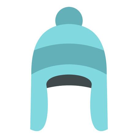 tejido de lana: icono de sombrero de invierno en el estilo plano aislado en el fondo blanco. ilustración vectorial Símbolo del accesorio