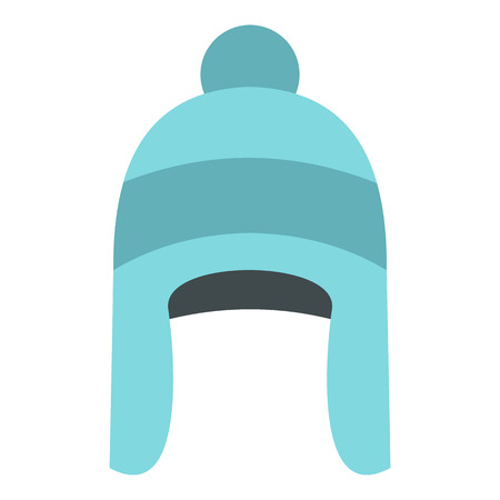 Winter hat icon in flat style isolated on white background. Accessory symbol vector illustration