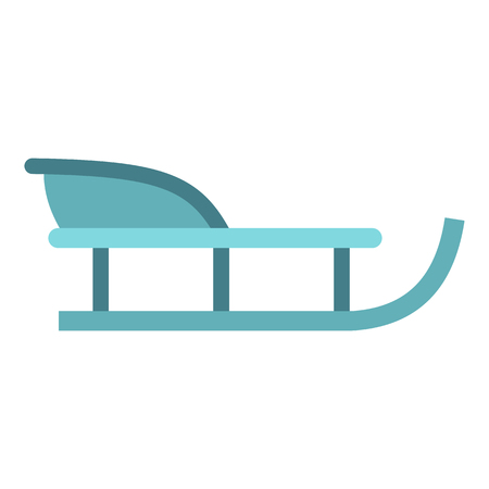 wintery: Sleigh icon in flat style isolated on white background. Snow and entertainment symbol vector illustration