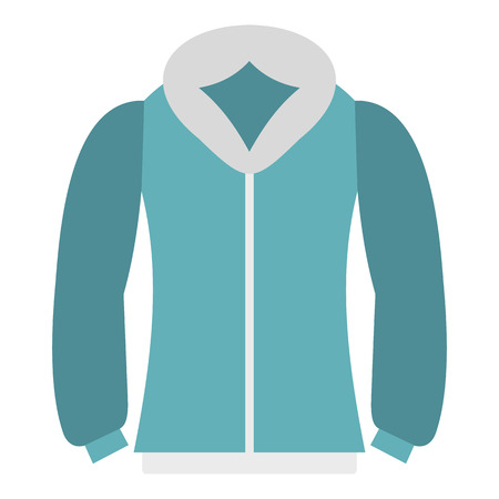 winter jacket: Blue mens winter jacket icon in flat style isolated on white background. Clothing symbol vector illustration
