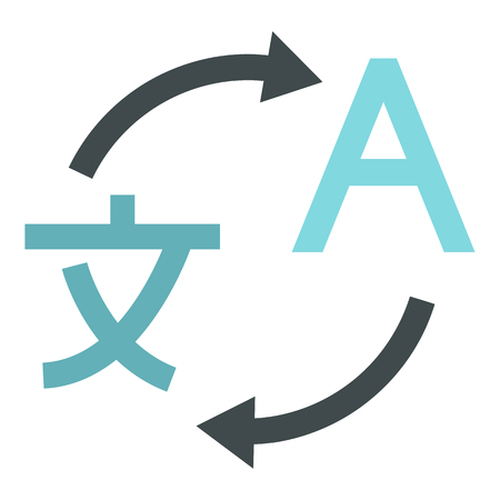 La traducción del japonés al icono de Inglés en el estilo plano aislado en el fondo blanco. Traducir ilustración vectorial símbolo