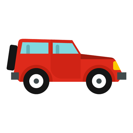 jeep: Jeep icon in flat style isolated on white background. Transport symbol vector illustration