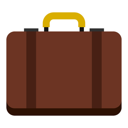 luggage carrier: Suitcase icon in flat style isolated on white background. Luggage symbol vector illustration