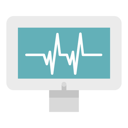 heartbeat monitor: Monitor heartbeat icon in flat style isolated on white background. Medical symbol vector illustration