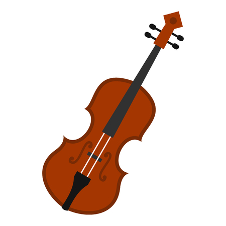 Cello icon in flat style isolated on white background. Musical instrument symbol vector illustration  イラスト・ベクター素材