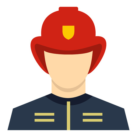 dangerous work: Fireman icon in flat style isolated on white background. People symbol vector illustration Illustration