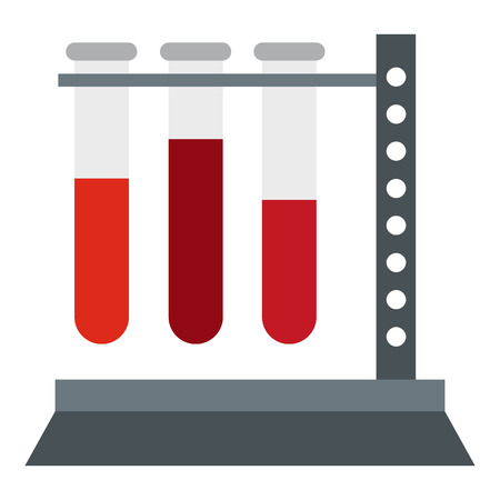 hypothesis: Vial for blood collection icon in flat style isolated on white background. Laboratory symbol vector illustration Illustration