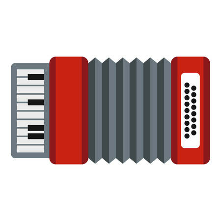 concertina: Accordion icon in flat style isolated on white background. Musical instrument symbol vector illustration Illustration
