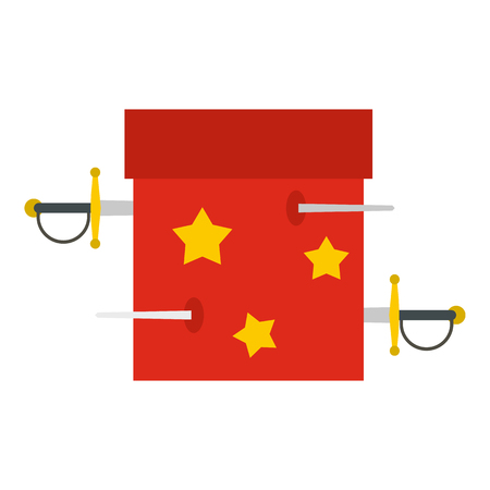 abracadabra: Box of tricks with daggers icon in flat style isolated on white background. Tricks symbol vector illustration