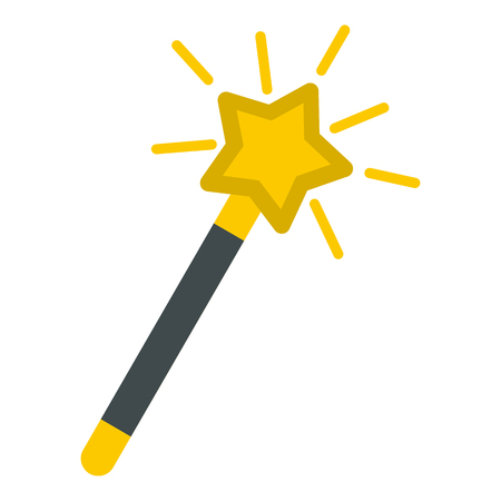 Magic wand icon in flat style isolated on white background. Tricks symbol vector illustration