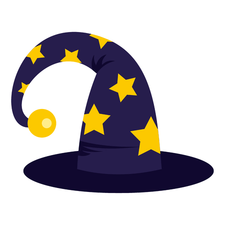 sombrero de mago: Wizard hat icon in flat style isolated on white background. Tricks symbol vector illustration