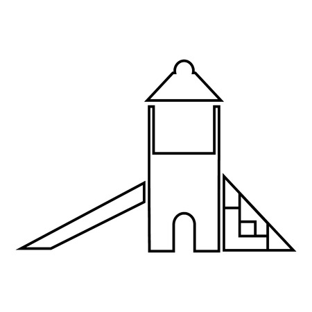 kiddies: Childrens slide house icon in outline style isolated on white background. Attraction symbol vector illustration