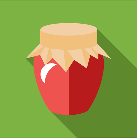 confiture: Jar of jam icon in flat style isolated with long shadow vector illustration