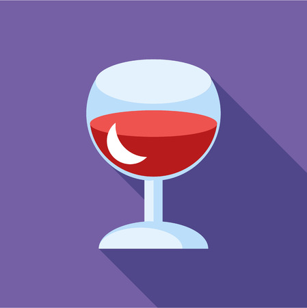 Red wine in glass icon in flat style isolated with long shadow vector illustration
