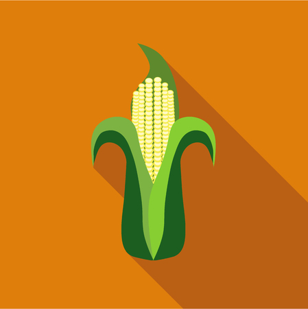 corn on the cob: Corn cob icon in flat style isolated with long shadow vector illustration Illustration